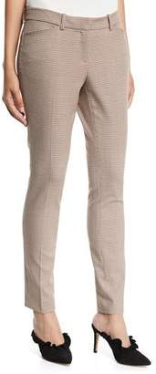 Lafayette 148 New York Manhattan Skinny-Leg Haberdashery Mini Check Pants