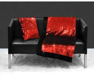 Mainstays Reversible Sequin Sparkle Throw Blanket, Red Reverse to Black