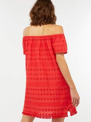 Accessorize Off Shoulder Schiffli Dress - Red