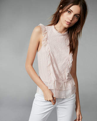 Express Lace And Ruffle Mock Neck Tank