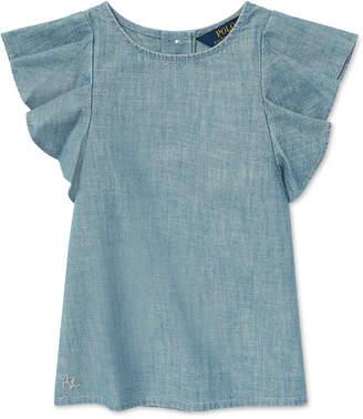 Polo Ralph Lauren Little Girls Chambray Flutter-Sleeve Cotton Top