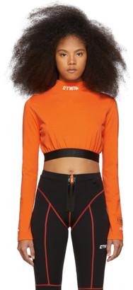 Heron Preston Orange Style Cropped Long Sleeve T-Shirt