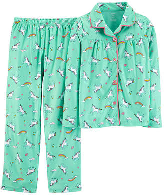 Carter's Button Long Sleeve Top & Pant 2-Pc. Pajama Set - Preschool Girls