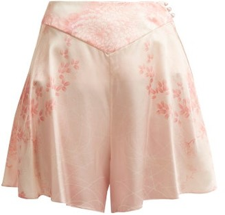 Hillier Bartley - Floral Print Silk Shorts - Womens - Pink Print