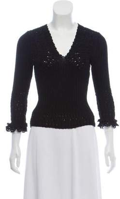 Oscar de la Renta Rib Knit V-Neck Sweater w/ Tags