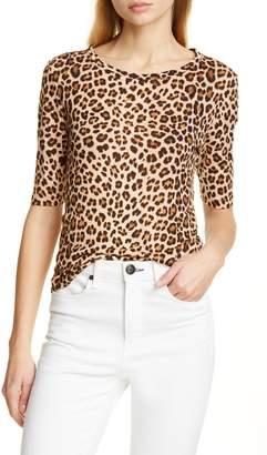 55ccd98e162db Rebecca Taylor Leopard Print Linen Slub Jersey Top