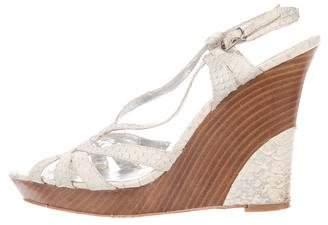 Charles David Snakeskin Wedge Sandals