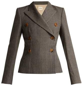 Khaite - Cathy Double Breasted Houndstooth Wool Blazer - Womens - Brown