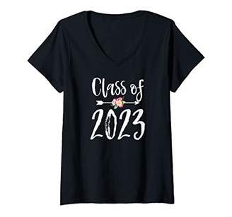 Womens Cute Rustic Style Arrow and Flowers Class of 2023 V-Neck T-Shirt