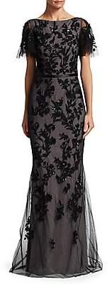 David Meister Women's Sequin Tulle Mermaid Gown