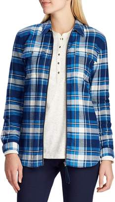 Chaps Petite Straight-Fit Plaid Cotton Full-Zip Shirt