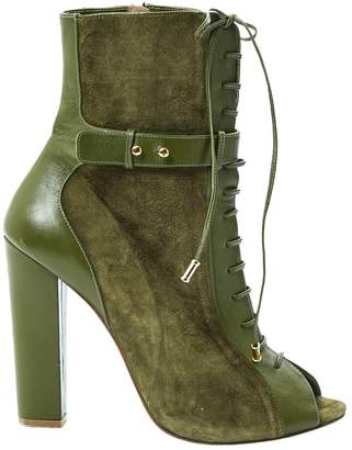 Elie Saab Khaki Suede Ankle boots