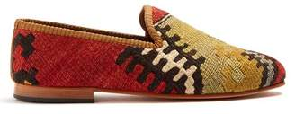 Artemis design shoes Artemis Design Shoes - Patterned Woven Kilim And Leather Loafers - Mens - Multi