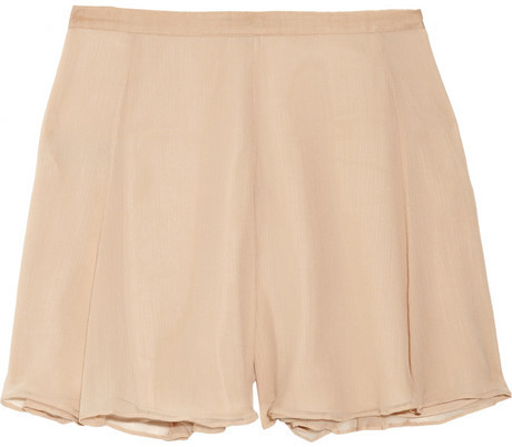 Elizabeth and James Katia flared silk-chiffon shorts
