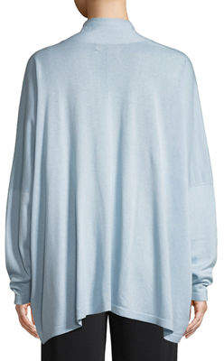 eskandar Open-Front Wide-Sleeve Silk Cardigan