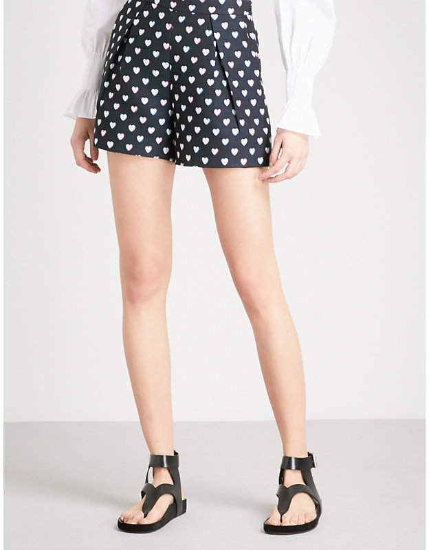 Heart-print woven shorts