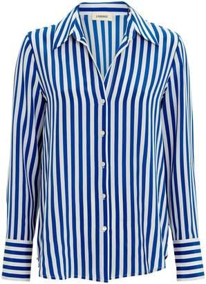 536828eec49806 L Agence Brielle Striped Silk Blouse