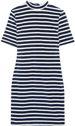 Alexander Wang Striped Cotton-blend Terry Mini Dress - Navy