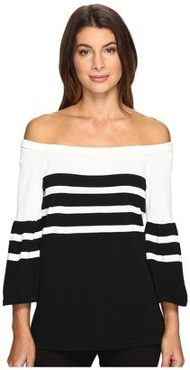 Calvin Klein Off Shoulder Bell Sleeve Sweater $89.50 thestylecure.com