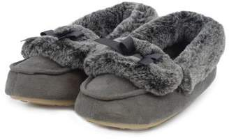 totes Ladies Suedette Fur Moccasin Slippers
