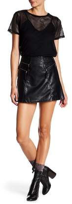 Jolt Zip Moto Faux Leather Mini Skirt (Juniors)