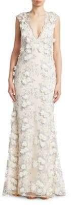 Badgley Mischka Lace V-Neck Gown