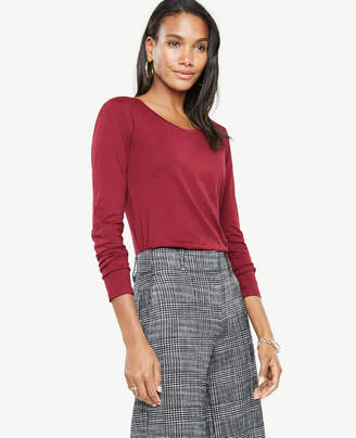 Ann Taylor Pima Cotton Scoop Neck Long Sleeve Tee