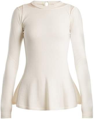 Oscar de la Renta Mesh-insert wool sweater