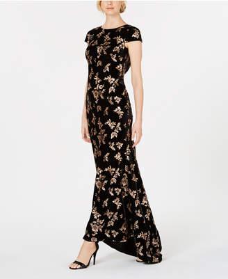 Calvin Klein Velvet Cowl-Back Gown