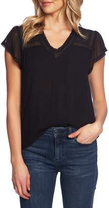 1 STATE 1.STATE Sheer Yoke Lace Trim Blouse