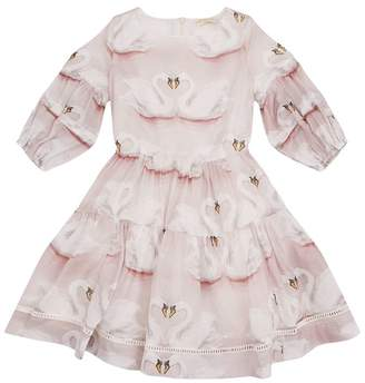 MonnaLisa Tiered Skirt Swan Dress