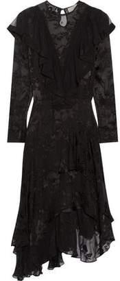 Preen by Thornton Bregazzi Etha Asymmetric Ruffled Devoré Silk-Chiffon Midi Dress
