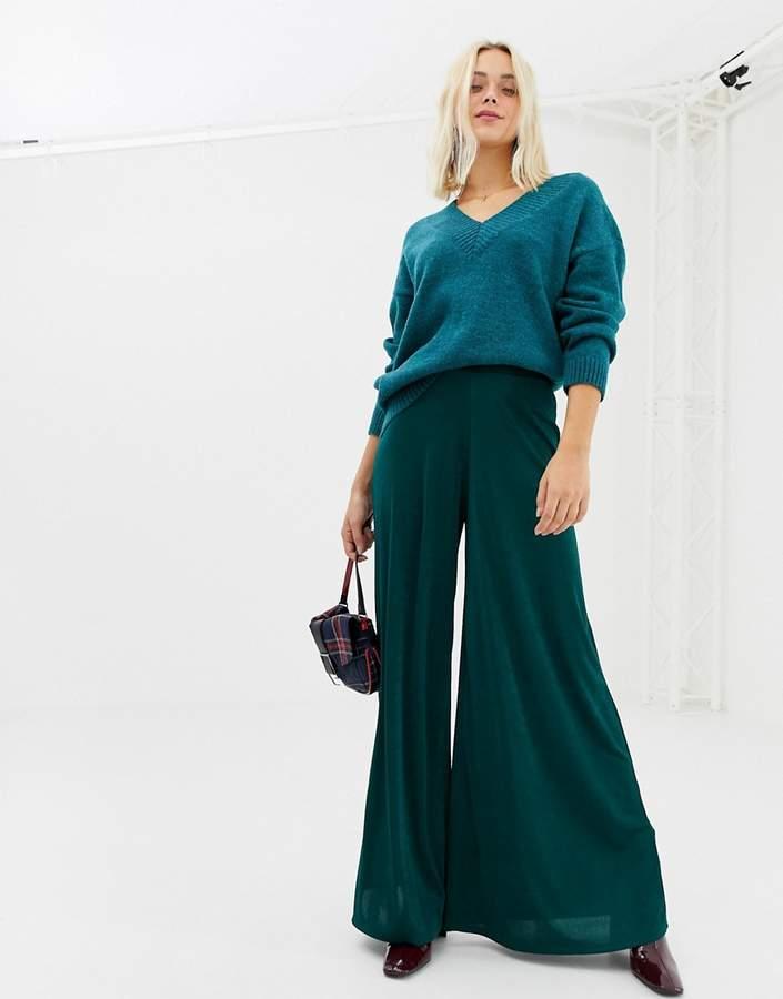 slinky wide leg trouser in green