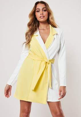 Missguided Lemon Contrast Long Sleeve Fitted Jersey Belted Wrap Dress, Yellow