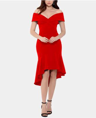 Xscape Evenings Off-The-Shoulder Crepe Ruffle Dress