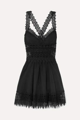 Charo Ruiz - Marilyn Crocheted Lace-paneled Cotton-blend Mini Dress - Black