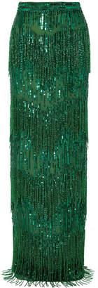 Naeem Khan Fringed Sequined Satin Maxi Skirt - Green