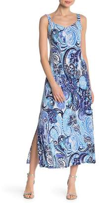 MSK V-Neck Patterned Maxi Dress