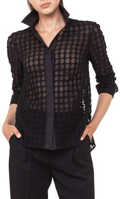 Akris Punto Kent Collar Dot Lace Blouse