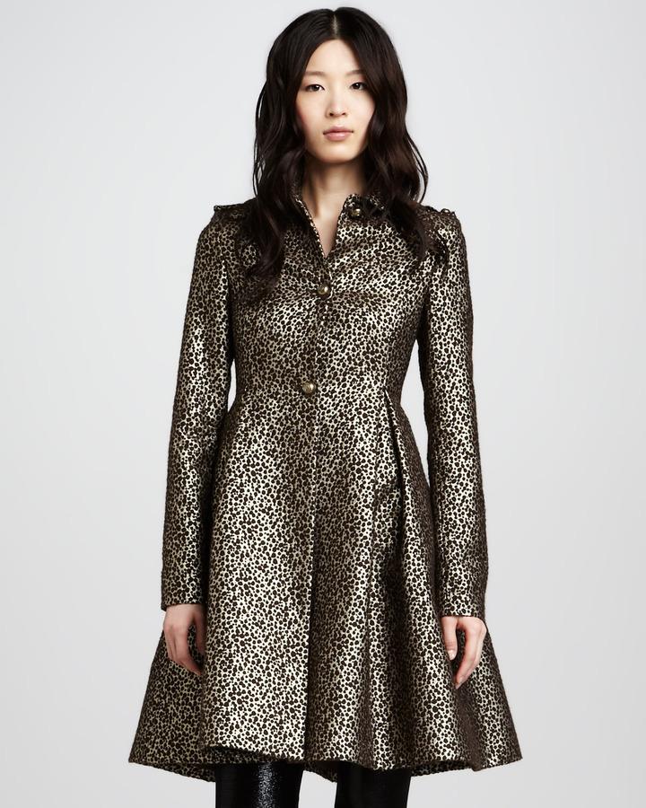 Alice + Olivia Connie Metallic Flounce Coat