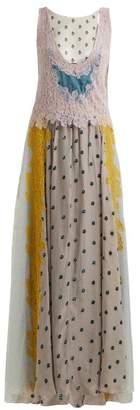 Valentino Flocked Floral Velvet Dress - Womens - Blue Multi