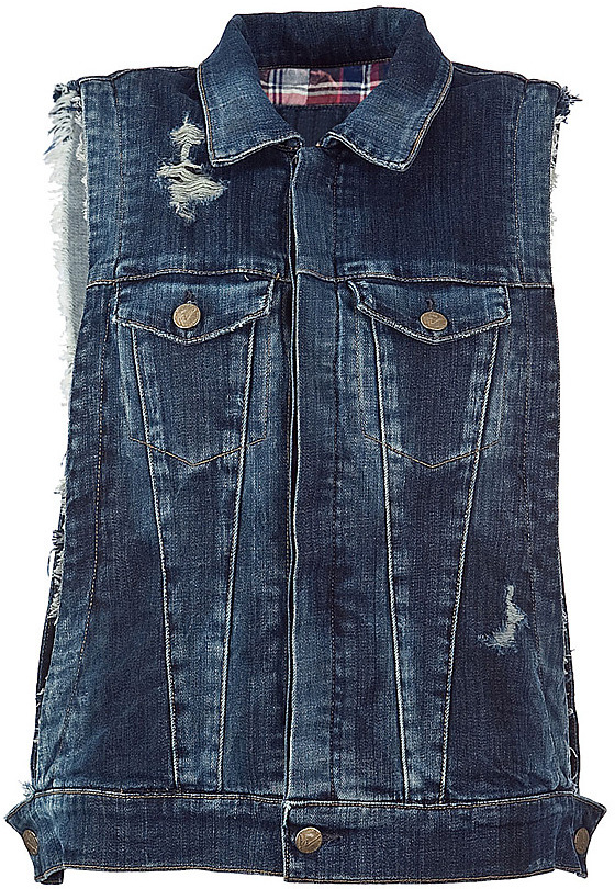 CITIZENS OF HUMANITY Blue Damaged Jeans-Vest