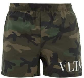 Valentino Logo Camo Print Swim Shorts - Mens - Green Multi