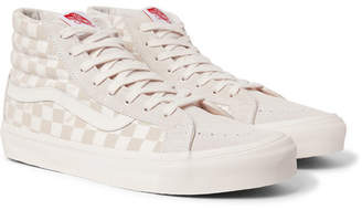 Vans Og Sk8-Hi Lx Checkerboard Canvas And Suede High-Top Sneakers