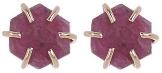 Melissa Joy Manning Gold Ruby Slab Stud Earrings
