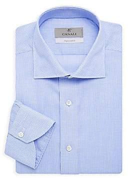 Canali Men's Mini Check Modern Dress Shirt