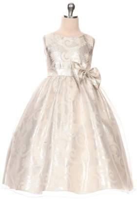 Kids Dream Victoria- Organza Overlay Jacquard Dress Silver