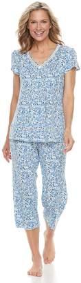 Croft & Barrow Women's Printed Tee & Capri Pajama Set