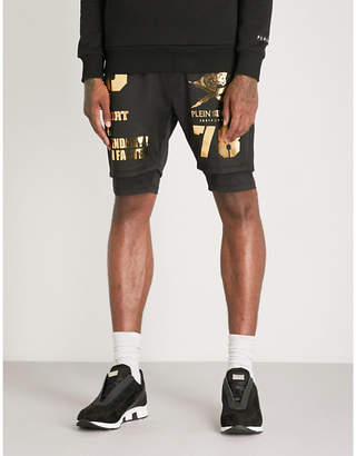 PLEIN SPORT Metallic-print sports-jersey shorts