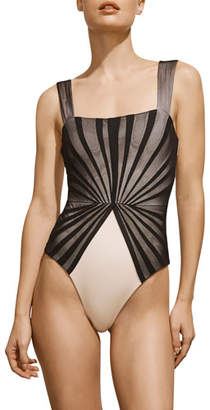 Amaio Swim Avril Pleated-Mesh Maillot, Black and Ivory